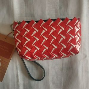 Recycled Rice Sack Wristlet/coin purse